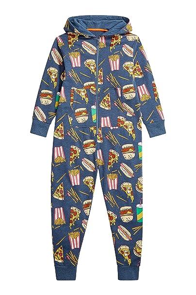 next Niños Júnior Pijama De Una Pieza Mono con Capucha Estampado De Hamburguesa (3-
