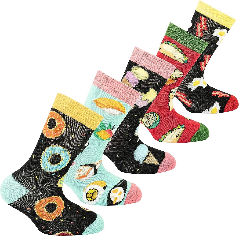 Socks n Socks-Kids 5-pair Fun Cool Cotton Colorful Dress Crew Socks Gift Box