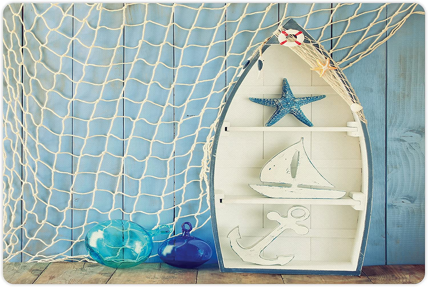 Ambesonne Nautical Pet Mat for Food and Water, Sea Objects on Wooden Backdrop with Vintage Boat Starfish Shell Fishing Net Photo, Non-Slip Rubber Mat for Dogs and Cats, 18