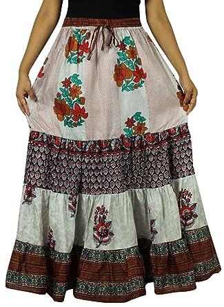 Indianbeautifulart Puro Largo de Seda Falda Acampanada Mujeres ...