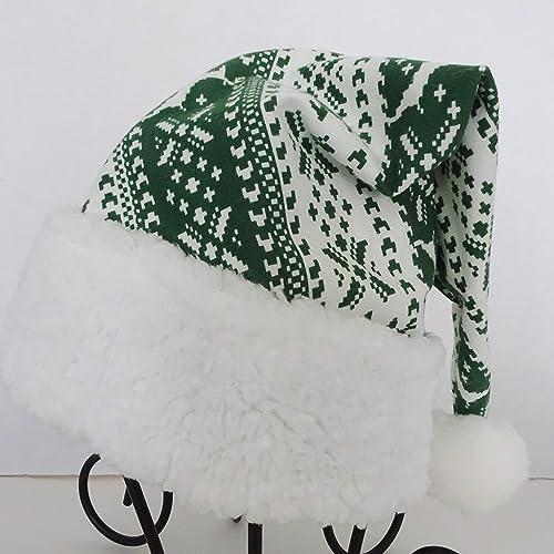 Amazon Com Green White Christmas Nordic Lodge Striped Santa Hat Novelty Santa Hat Holiday Hat Handmade
