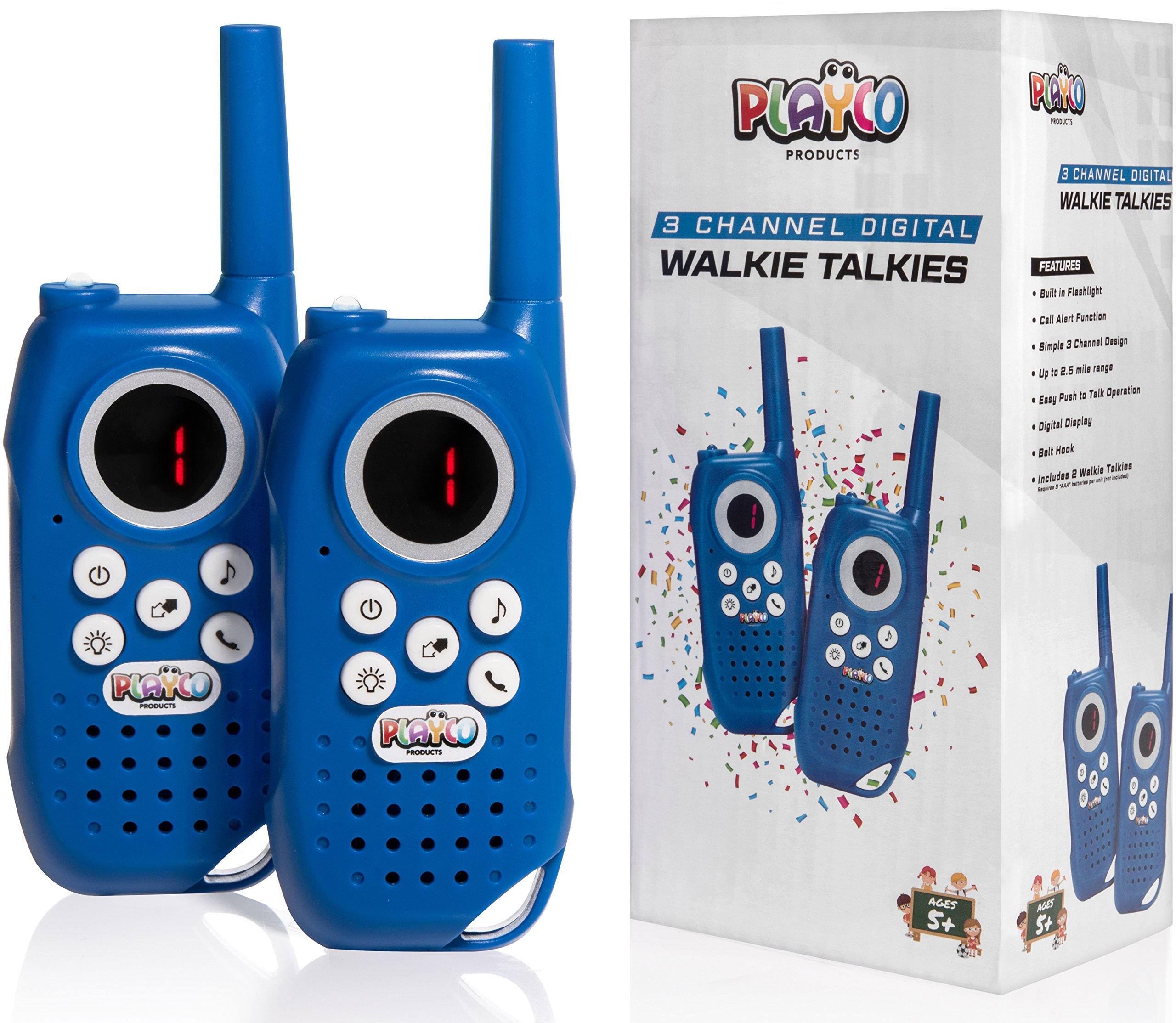 Playco Products Walkie Talkies for Kids - Fun Packaging Makes for an Awesome Gift for Boys and Girls - Simple 3 Channel Set Includes Flashlight and Belt Clip - Keep Your Children Busy for Hours