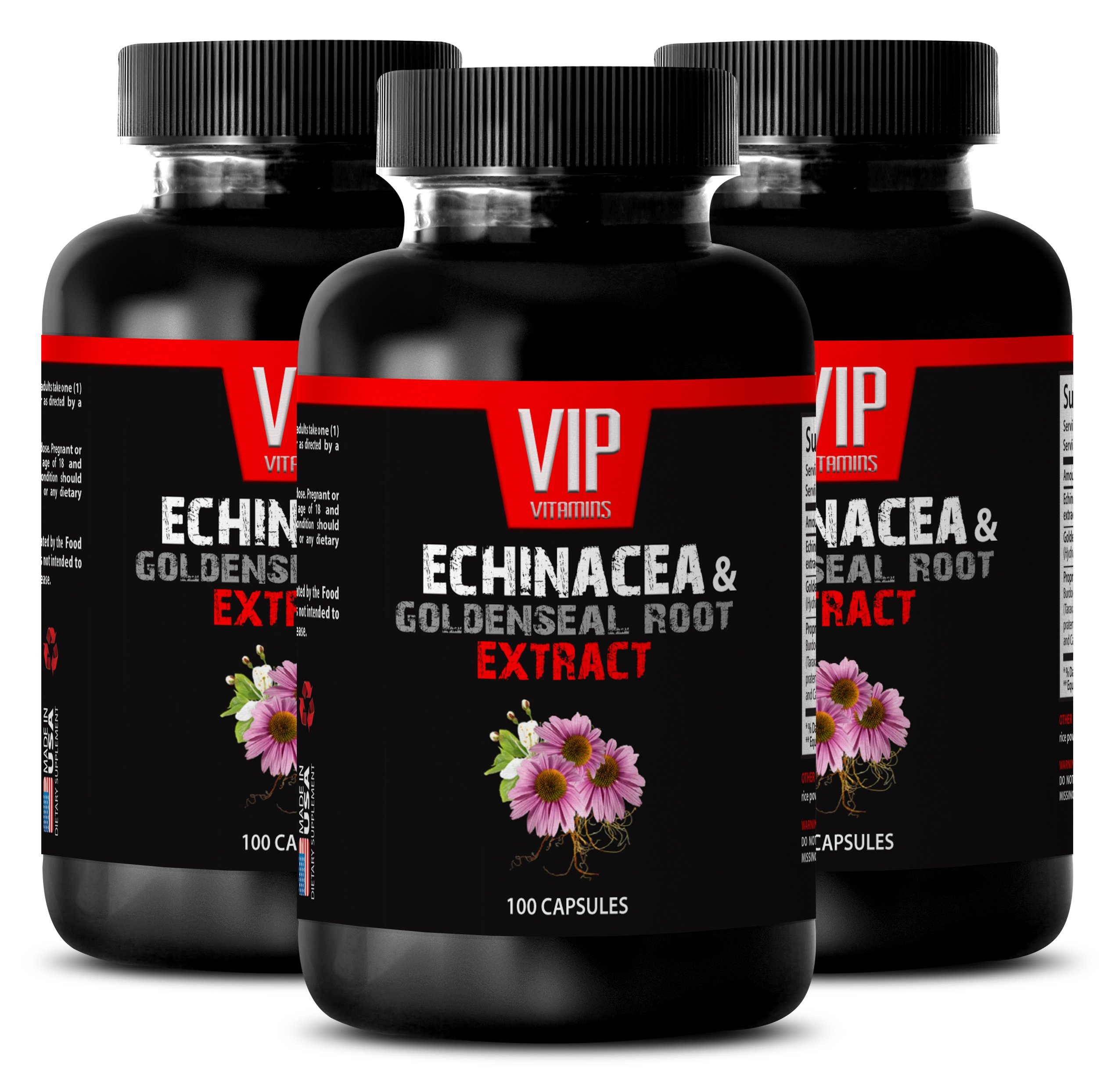 Boost energy pills - ECHINACEA AND GOLDENSEAL ROOT EXTRACT - Goldenseal echinacea capsules - 3 Bottles 300 Capsules