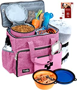 Dog Travel Bag Week Away/Overnight Accessories Organizer - Pet First Aid Pouch - Airline Approved 2 Food Storage Containers and Collapsible Bowls Water Resistant for Small, Medium & Large Dogs Pink