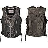 Milwaukee Motorcycle Clothing Company Front Zip Ladies Vest with Studs and O Rings Lace Sides (Black, X-Large)