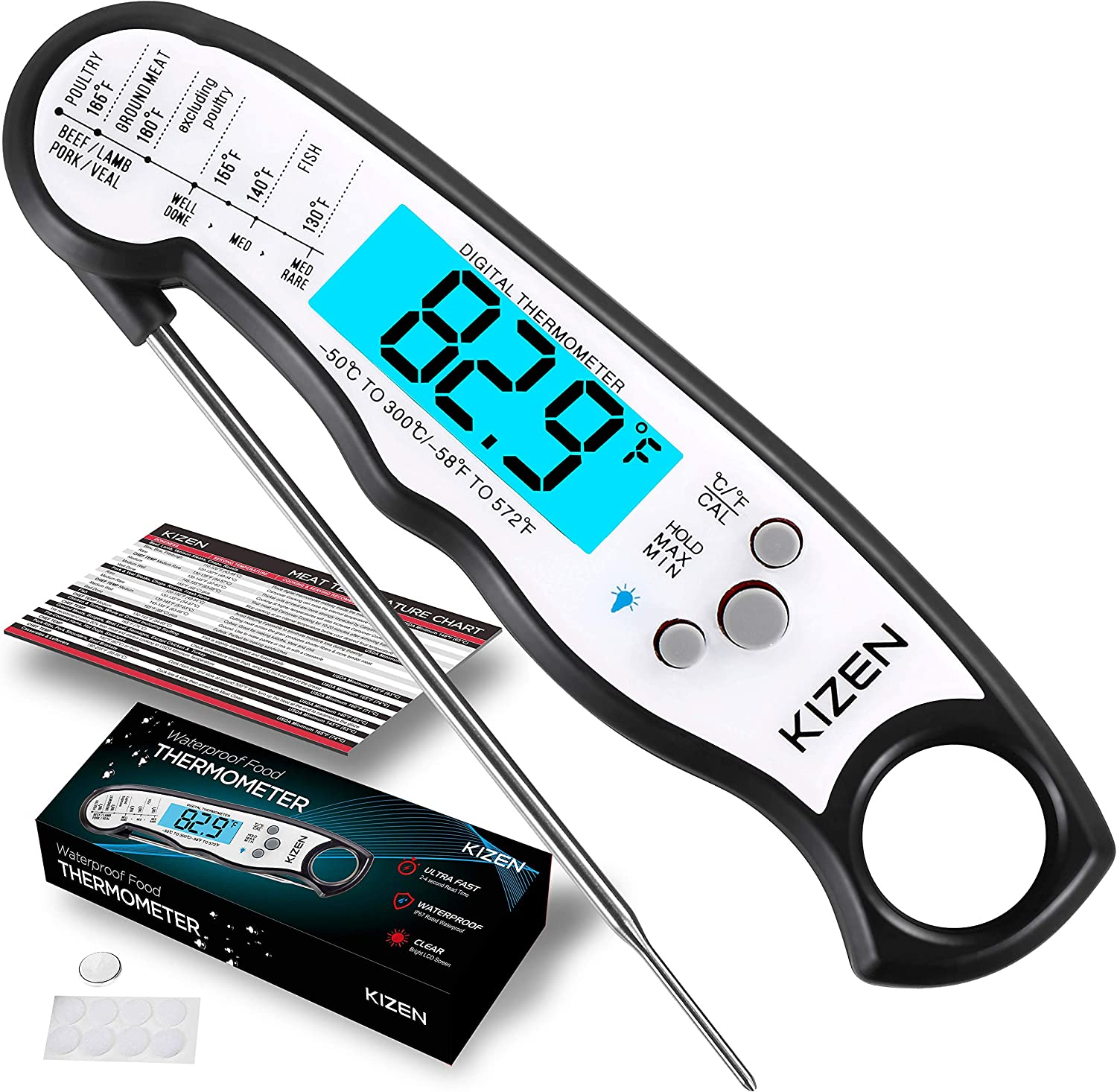 Kizen Instant Read Meat Thermometer - Best Waterproof Ultra Fast Thermometer with Backlight & Calibration. Kizen Digital Food Thermometer for Kitchen, Outdoor Cooking, BBQ, and Grill!: Kitchen & Dining