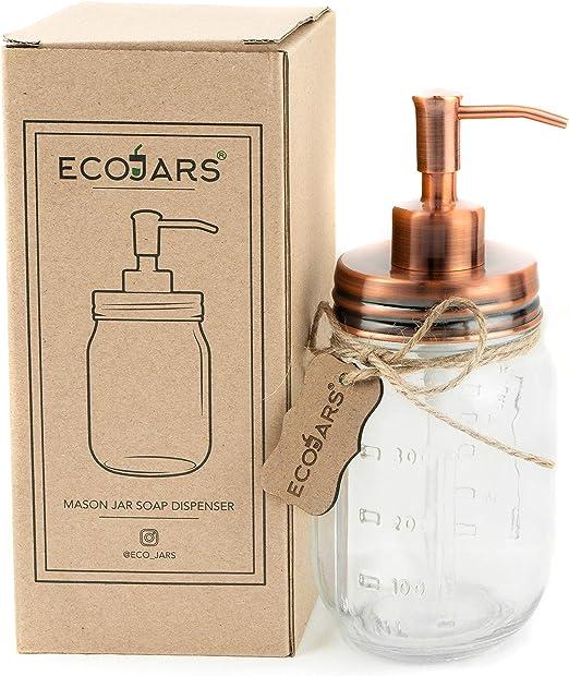 Vintage Glas 500/ml EcoJars Kupfer Mason Jar Seifenspender Edelstahl Geschenkbox