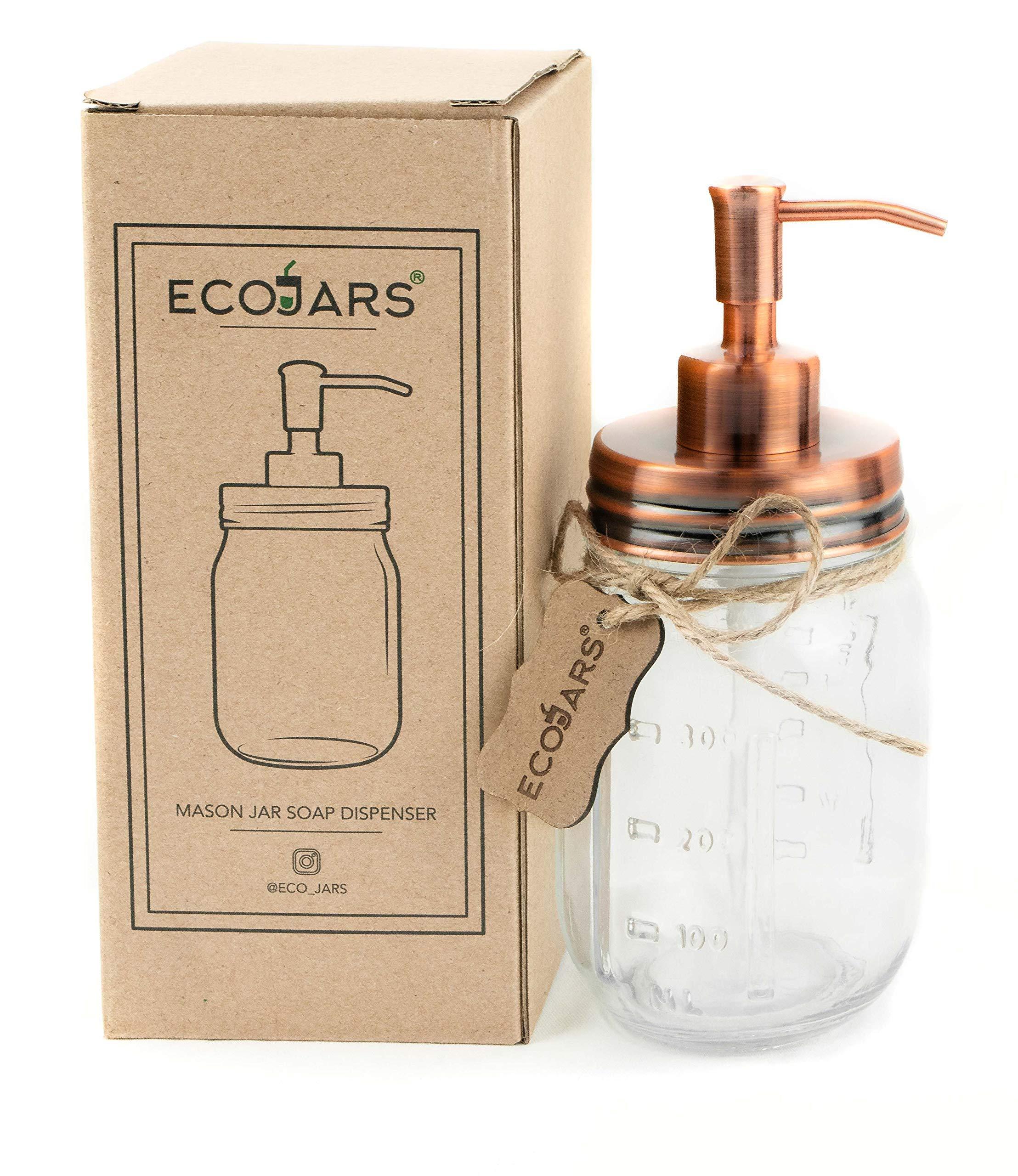 NEW COPPER,ROSE GOLD PUMP+GLASS VINTAGE STYLE BATHROOM,KITCHEN SOAP DISPENSER