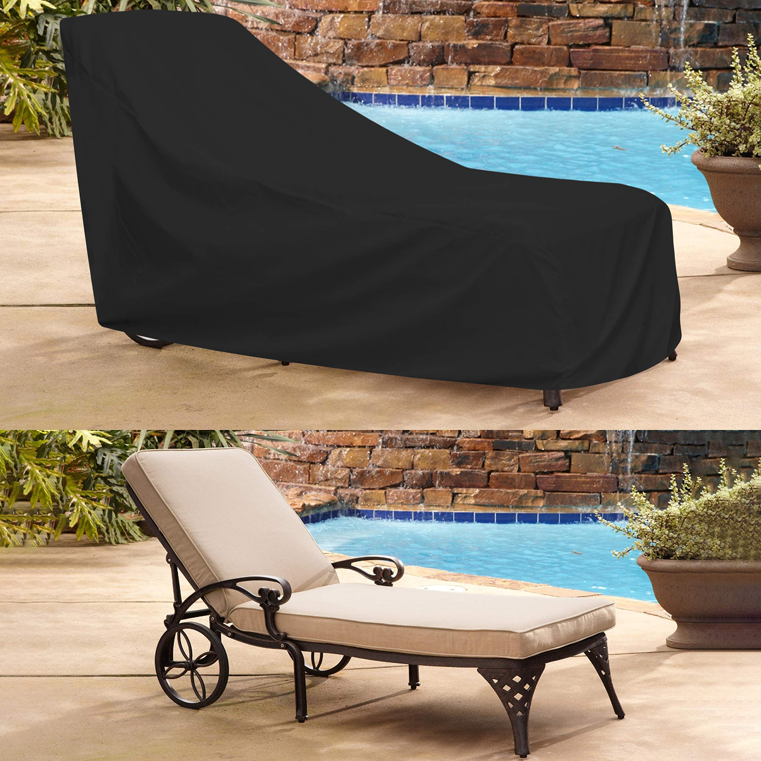 COVERS & ALL Chaise Lounge Cover 12 Oz Waterproof - 100% UV & Weather Resistant Outdoor Chaise Cover PVC Coated with Air Pockets and Drawstring for Snug Fit (86W x 36D x 32H, Black) by COVERS & ALL (Image #7)