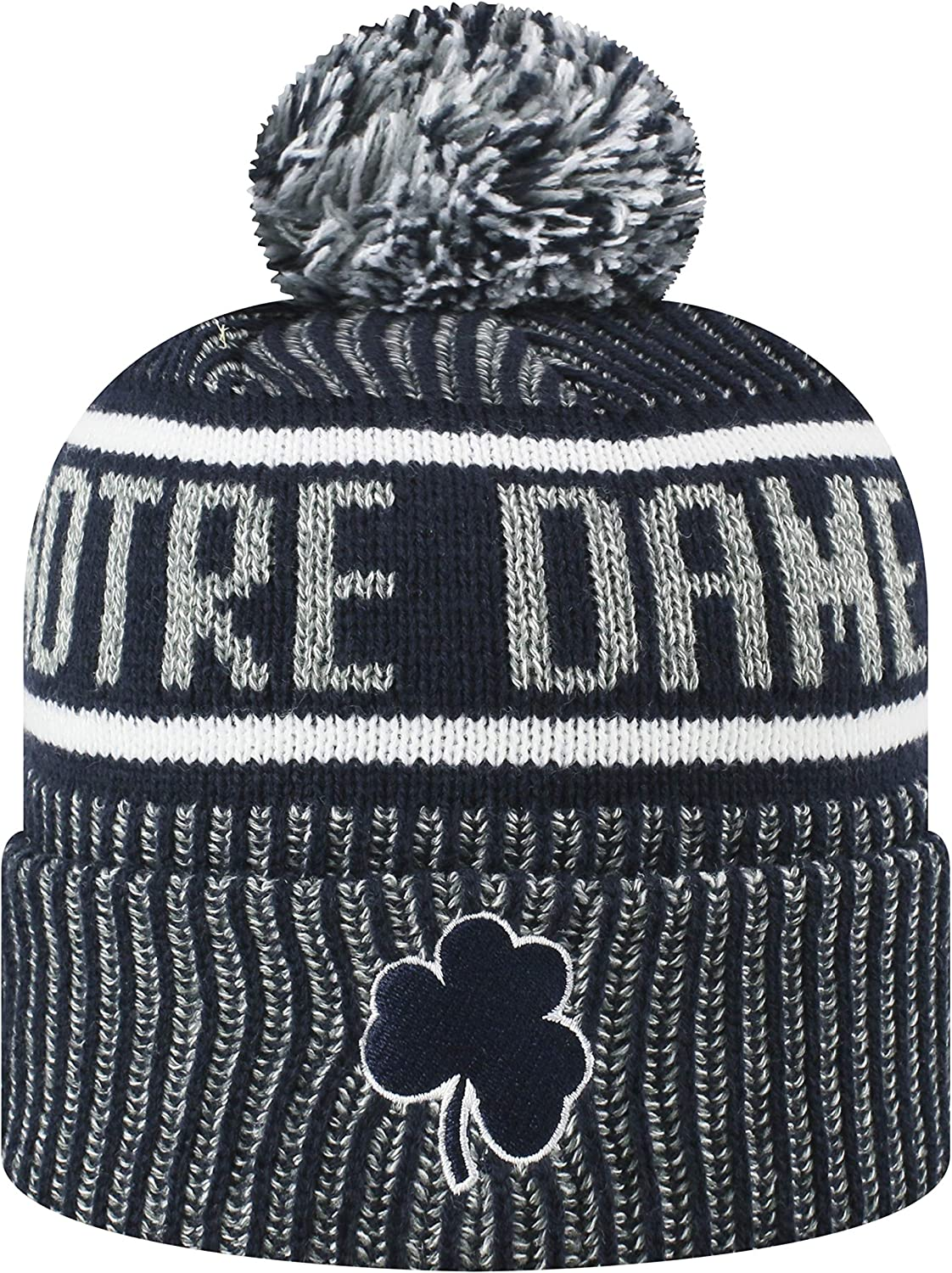 Top of the World Mens NCAA Glacier Cuffed Knit Beanie Pom Hat