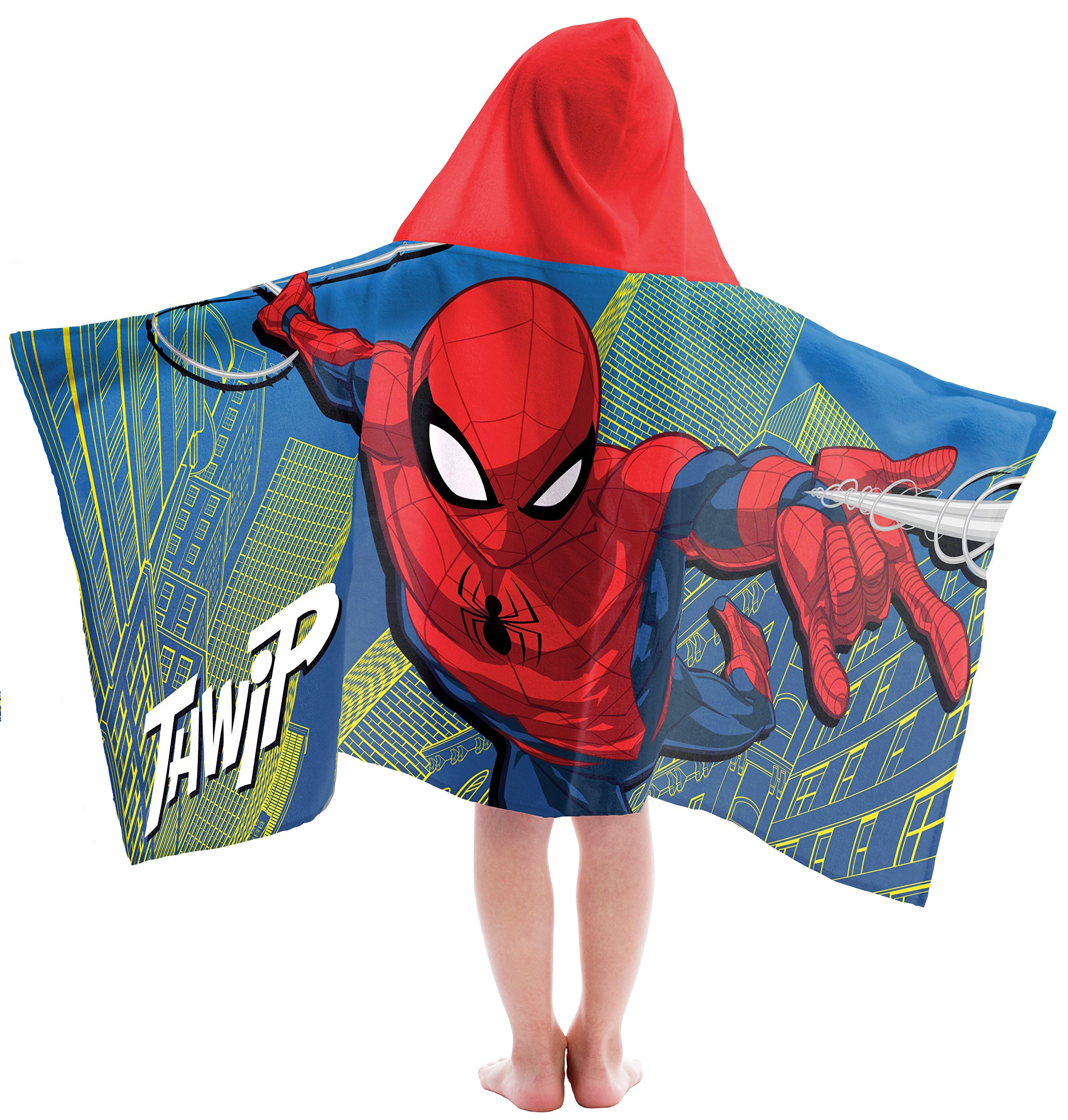 Marvel Spiderman Thwip Super Soft & Absorbent Kids Bath/Pool/Beach Hooded Towel, Featuring Spiderman - Fade Resistant Cotton Terry Towel, Measures 28 inch x 58 inch (Official Marvel Product)