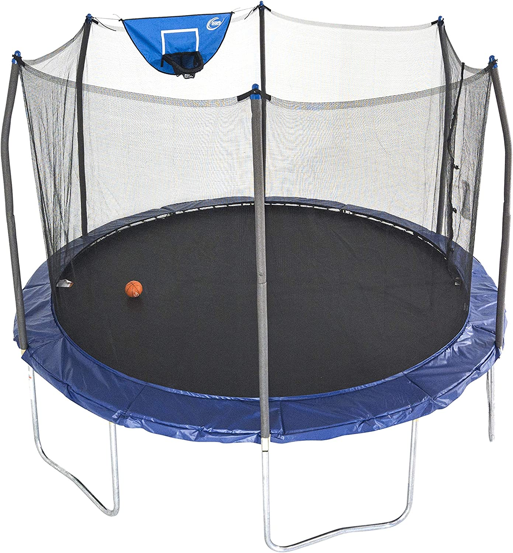 Skywalker Trampolines 12 Foot Jump N' Dunk Trampoline with Enclosure Net Basketball Trampoline