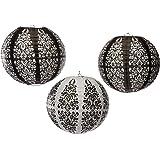 Amscan Lampions Ornament, 3 St, schwarz-weiss - die ideale Deko für festliche Anlässe
