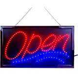 """Large LED Open Sign for Business Displays: Jumbo Electric Light Up Sign Open with 2 Flashing Modes 