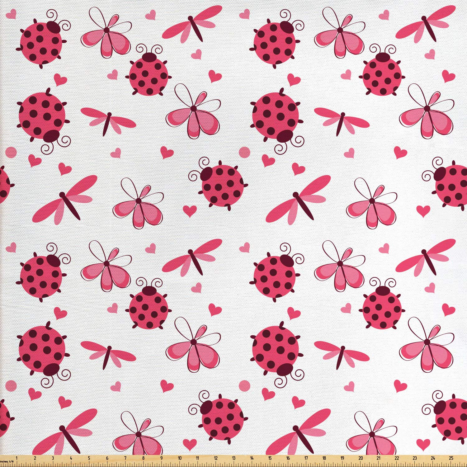 Ambesonne Ladybugs Fabric by The Yard, Domed Back Round Ladybugs with Hearts Flowers Dragonflies Romantic Wings Pattern, Decorative Fabric for Upholstery and Home Accents, 1 Yard, Red White