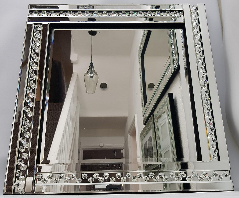 Square Wall Mirror Sparkly Silver Diamond Crush Crystal 60X60cm