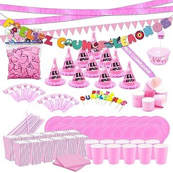 Cumpleaños Fiesta Rosa para 10 Invitados con guirnaldas ...
