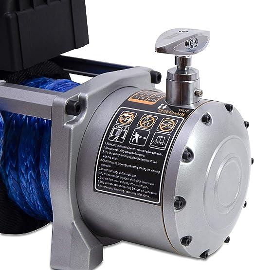 WinchPro - Cabrestante Eléctrico 12V 5900kg/13000lbs, 26m De Cuerda De Dyneema Sintética, 2 Mandos A Distancia Incluidos (1 Inalámbrico, 1 Cable), ...