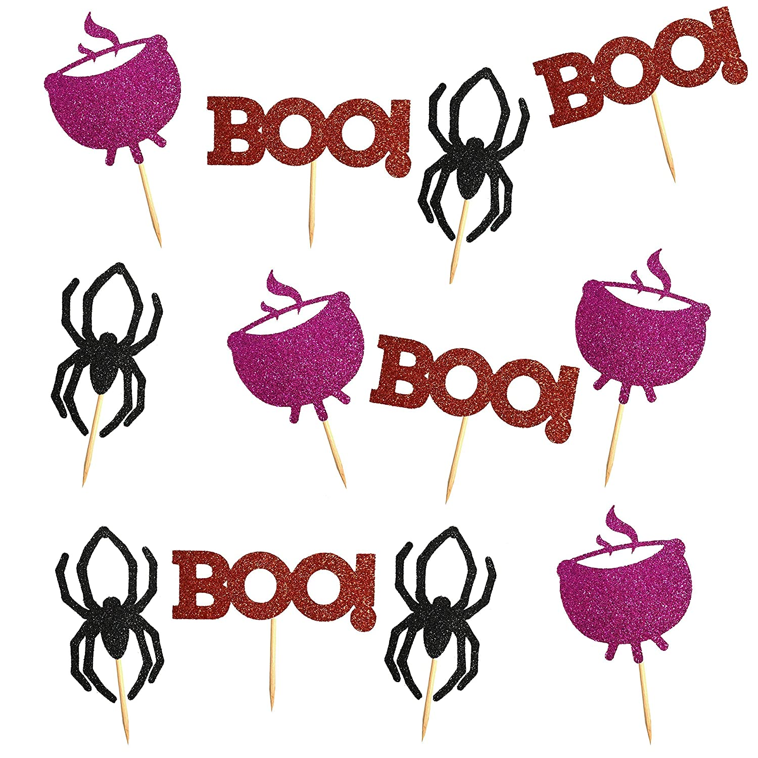 Halloween Cupcake Picks Halloween Party Decoration and Supplies Pack of 6 or 12 Cupcake Toppers Witches Kettle BOO Spider