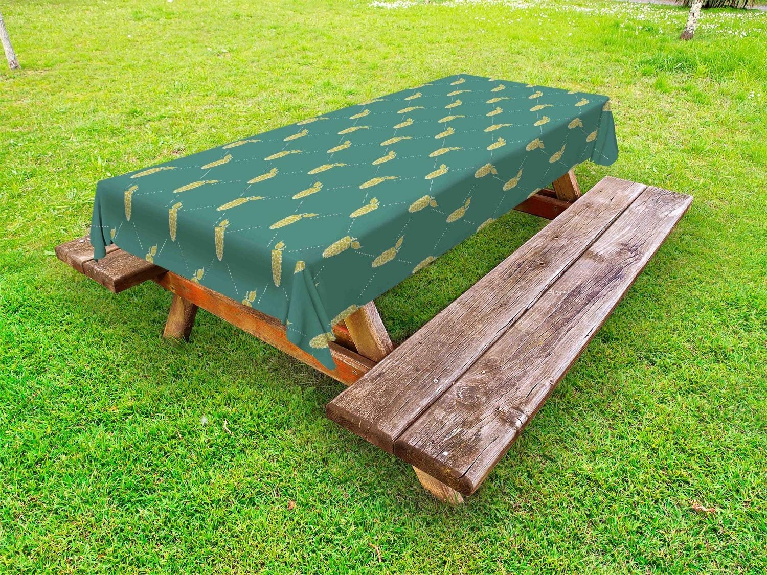 Ambesonne Alcohol Outdoor Tablecloth, Vintage Pattern with Stylized Hops in Diagonal Order Organic Brewery Theme, Decorative Washable Picnic Table Cloth, 58 X 120 Inches, Khaki and Teal