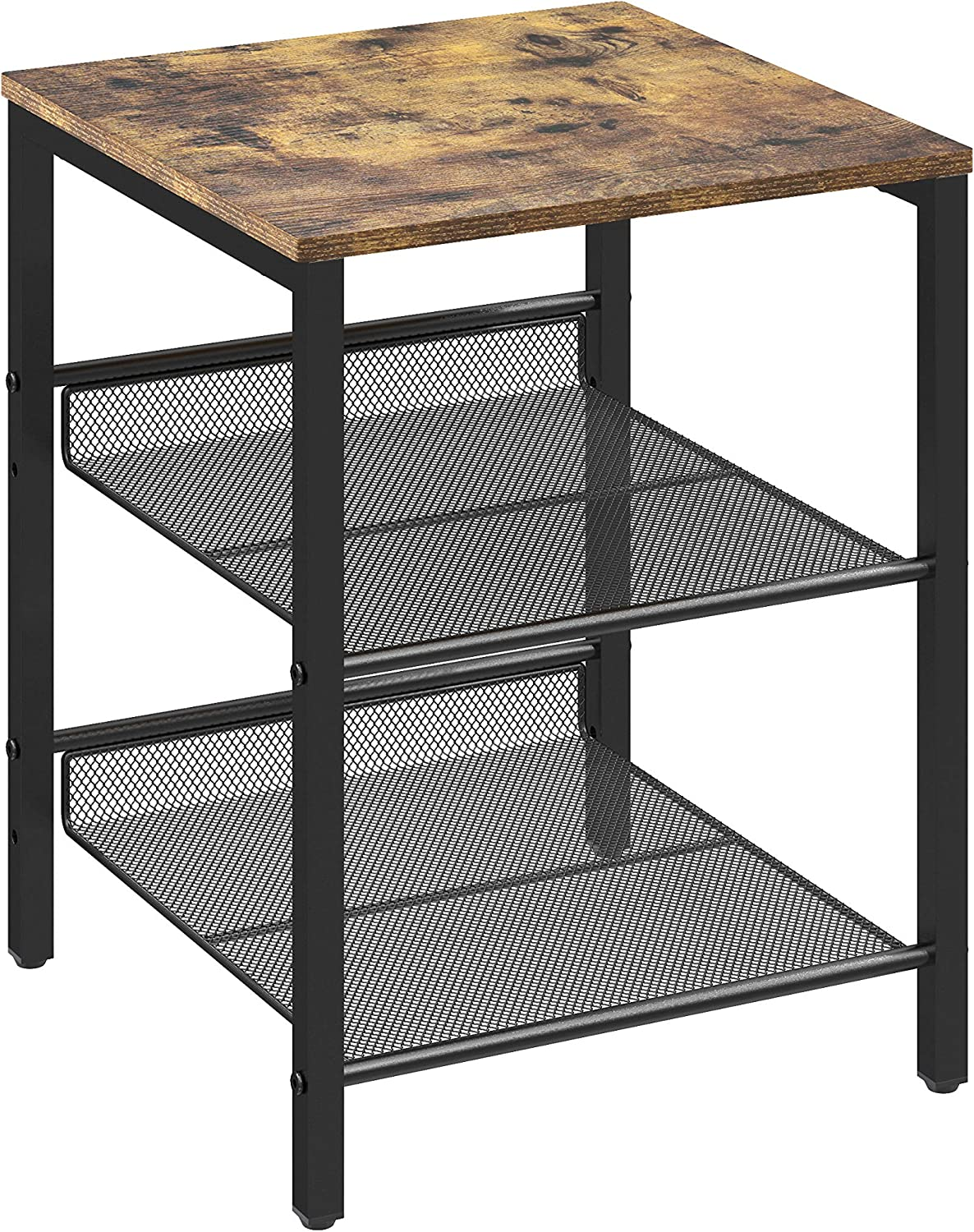 Yusong Industrial End Table,Nightstand with Adjustable Mesh Shelves,Side Table for Bedroom and Living Room,Rustic Brown