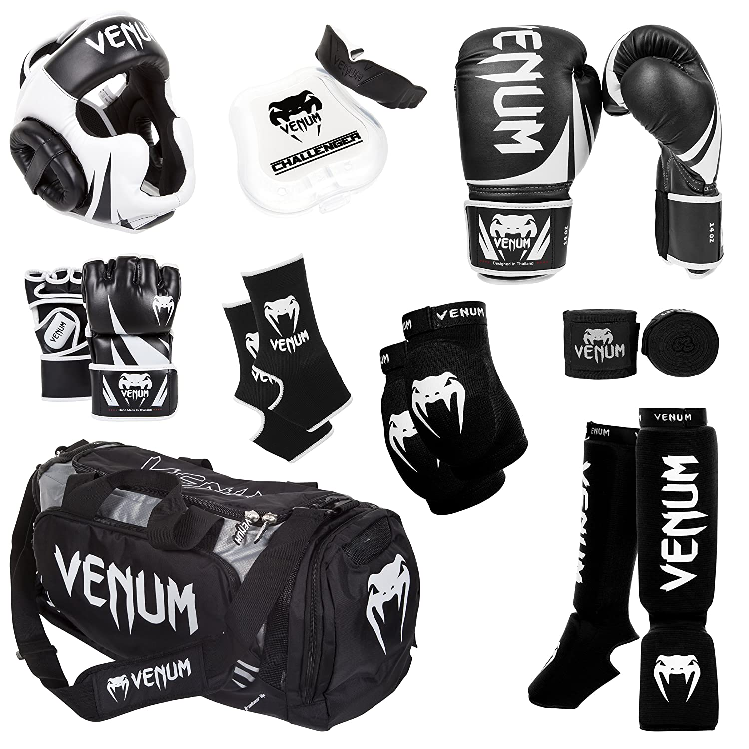 Venum Challenger 2.0 MMAトレーニングセット 黒 Gloves, 黒 In-Step Shinguards, 黒 MMA Gloves, 黒 Headgear, 黒 Handwraps, 黒/白い Mouthguard, 黒 Sport Bag, 黒 Ankle Support, 黒 Elbow Protector 12-Oz. Boxing Gloves, L/X-L MMA Gloves