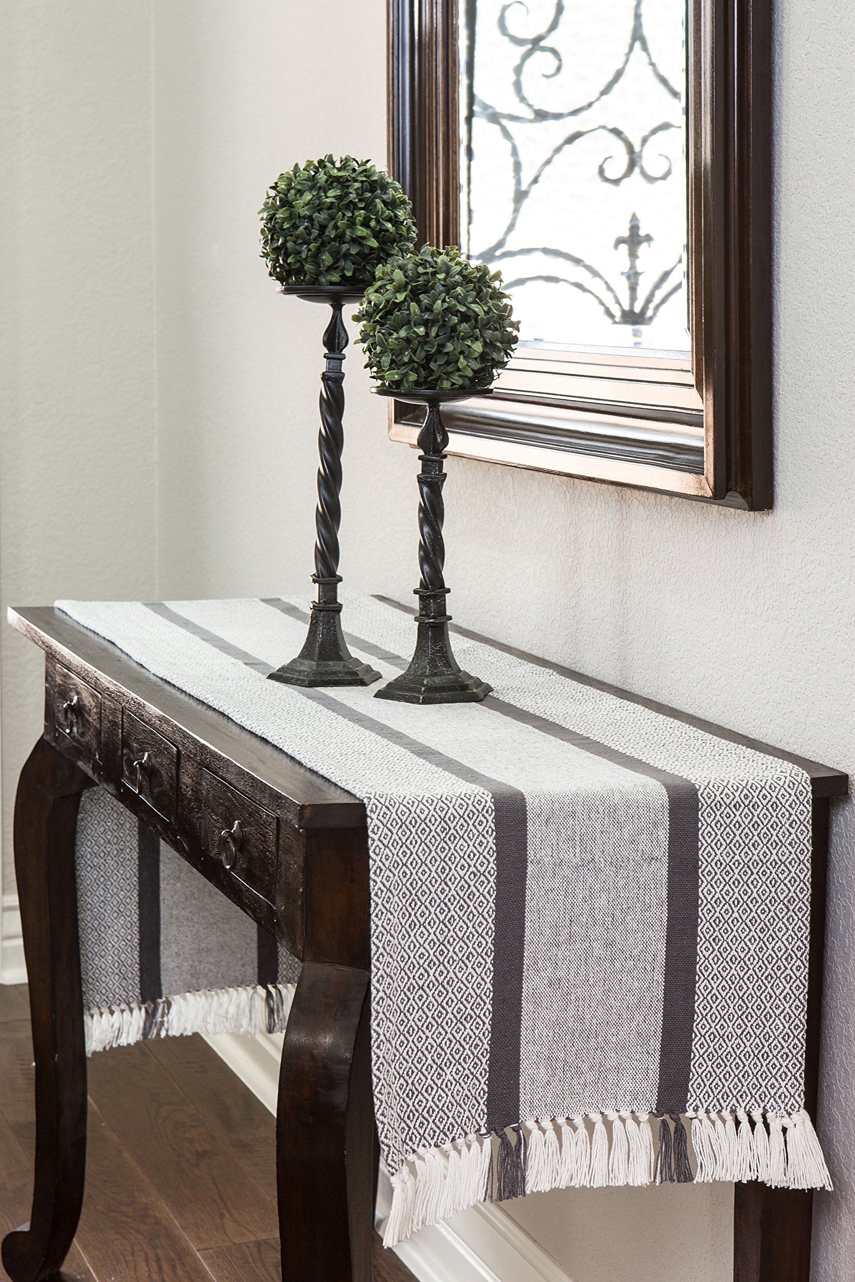 Sticky Toffee Cotton Woven Table Runner with Fringe, Traditional Diamond, Gray, 14 in x 72 in by Sticky Toffee (Image #3)