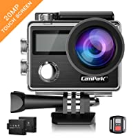 Campark Action Camera, 4K 20MP Touch Screen Waterproof Camera Image Stabilization SONY Image Sensor EIS Remote Control Dual 1050mAh Batteries and Kit of Accessories