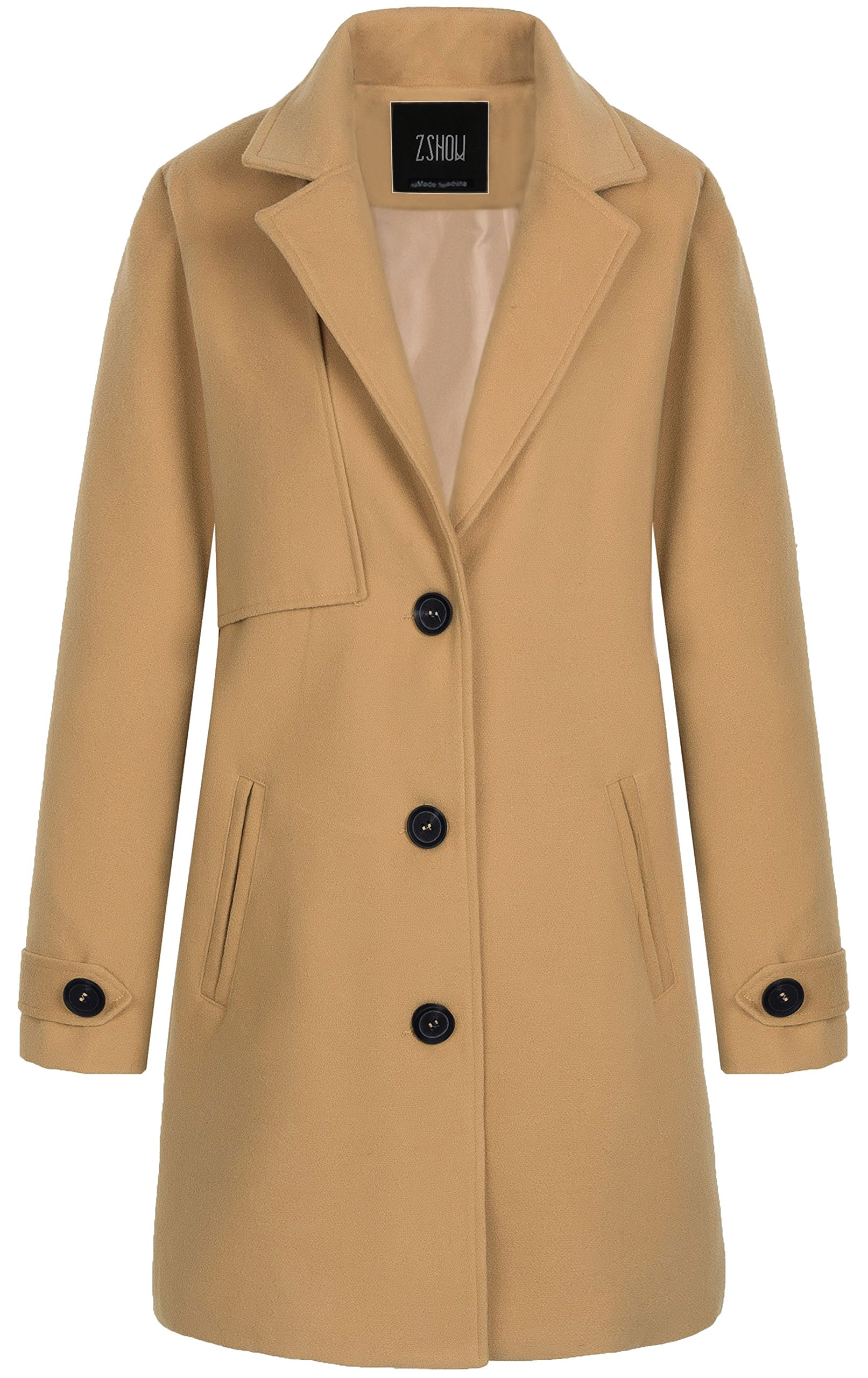ZSHOW Women's Single Breasted Solid Color Classic Pea Coat Large Light Camel