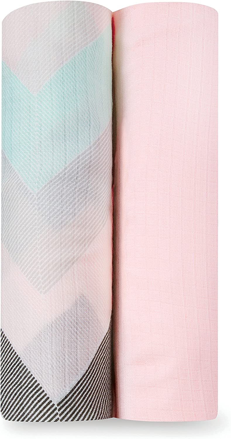 nursing cover Great for swaddling travel blanket and more bamboocotton blend soft muslin Pink Swans Swaddle 1 pack