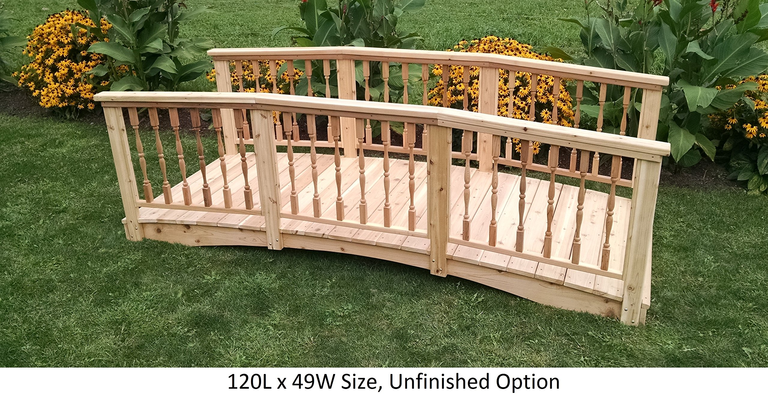 Amish-Made Weight-Bearing Cedar 3' x 6' Spindle Bridge, Unfinished by Backyard Crafts