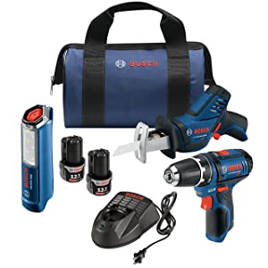 Bosch Power Tools Combo Set - GXL12V-310B22 – 12-Volt 3-Tool Combo Kit – Pocket Reciprocating Saw PS60, Drill PS31, LED Worklight GLI12V-300 For Maintenance Repair, Electrician, Contractor, Home Owner