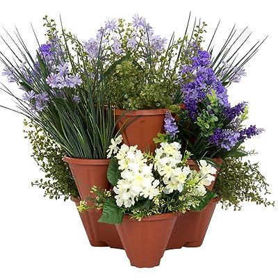 Pure Garden Stacking Flower Pot Tower- Space Saving Set: Garden & Outdoor