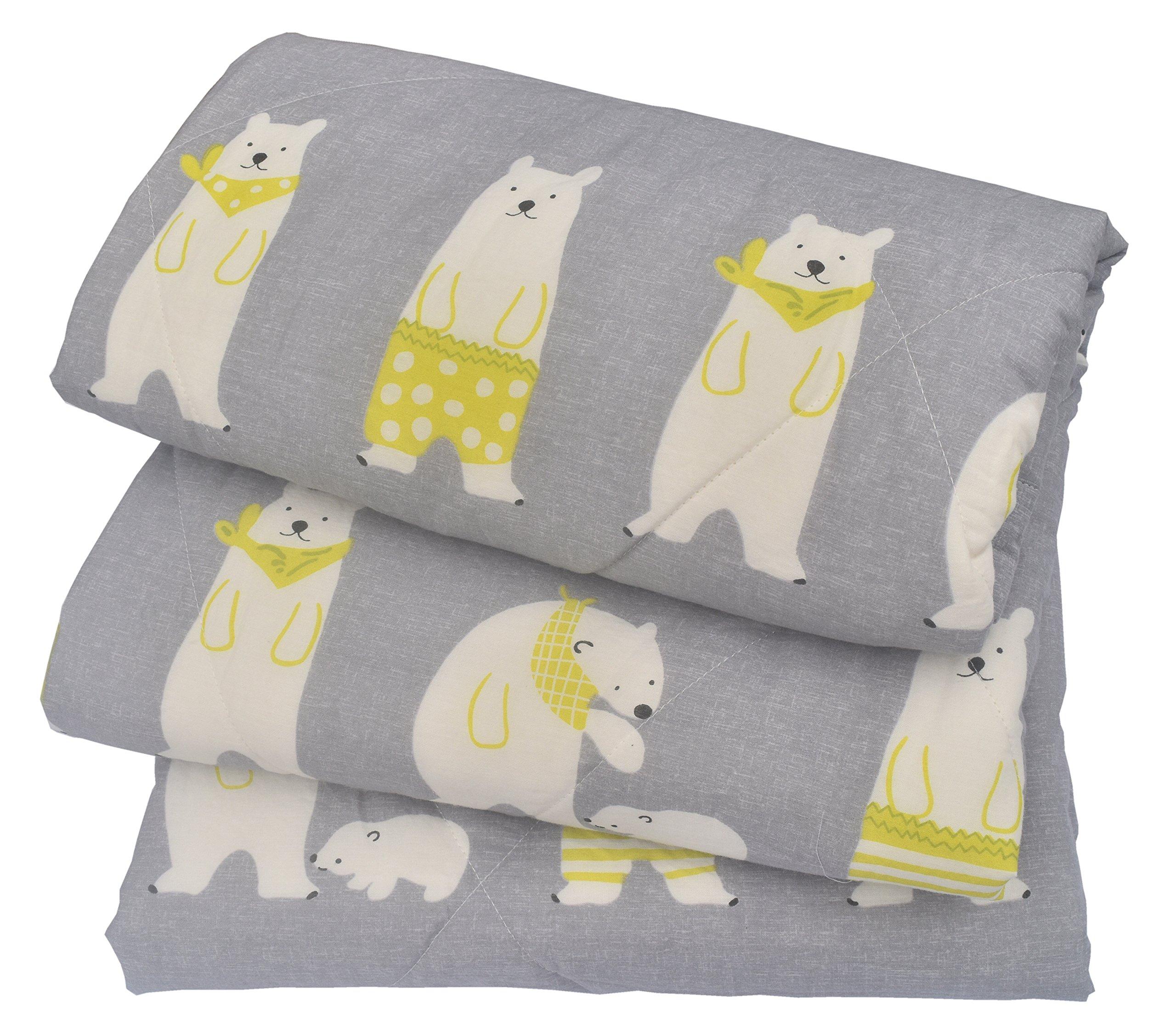 J-pinno Boys & Girls Cute Bear Cotton Muslin Quilt Comforter Bedding Coverlet Full, 100% Long Staple Cotton Filling, Lightweight Throw Blanket Kid's Bedroom (Full 78'' X 90'', beargray)