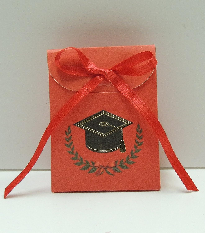 Bombonera con confetti, caja roja símbolo graduación, cinta rojo paquete de 20 piezas (para urgenze contattare el vendedor): Amazon.es: Hogar