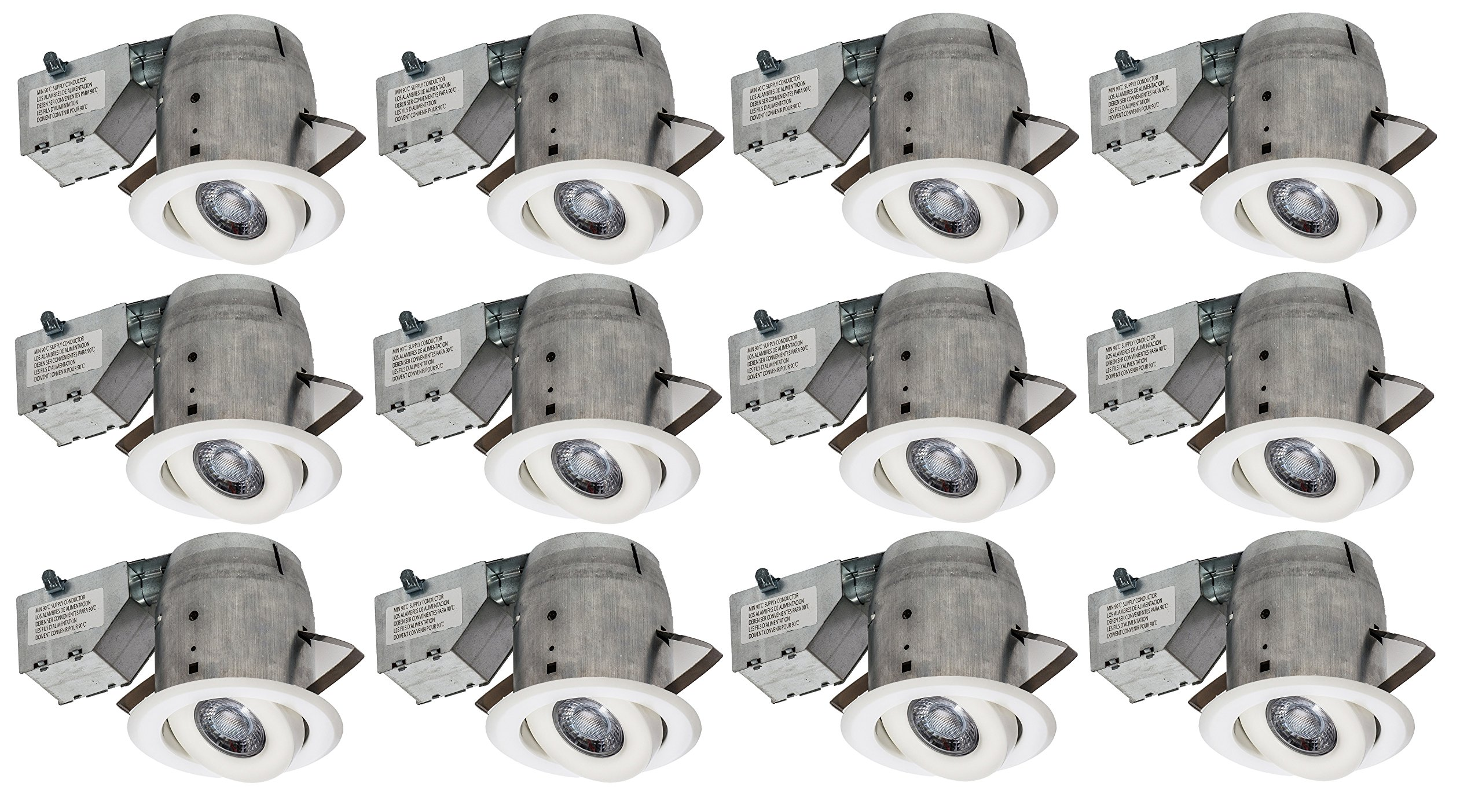 Nadair 12 PACK 4'' Swivel Dimmable Downlight Spotlight Recessed Light Energy Star Complete Kit,12 x LED Gu10 550 Lumens Bulb (50W Equivalent) Included, Ic Rated, Warm White