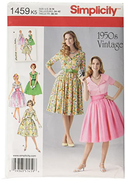 Simplicity 1950s Vintage Retro Pattern 1459 Misses Dress and Cummerbund Sizes 8-10-12