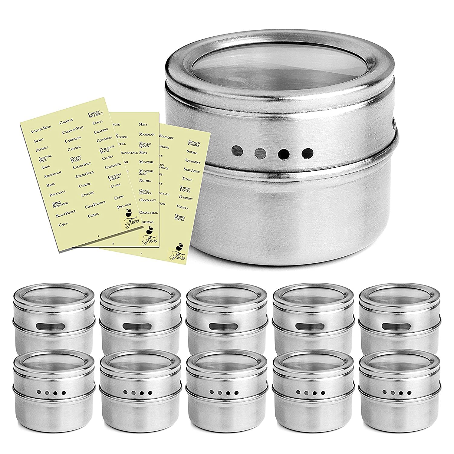 Premium Quality Magnetic Spice Tins With Open And Sprinkle Option; 12 Pack 304 Stainless Steel Multipurpose Jar Organizers; Strong Magnet For Securing To Refrigerator; 117 Free Condiment Labels by T'soro