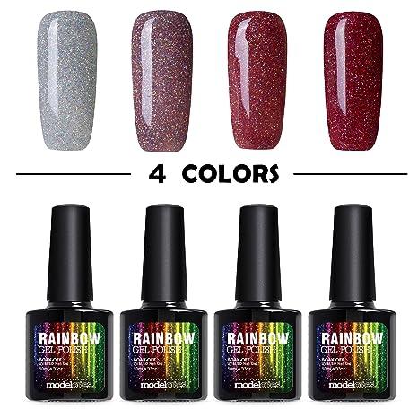 Buy Modelones 4pcs Glitter Gel Nail Polish Color Collection Set Uv