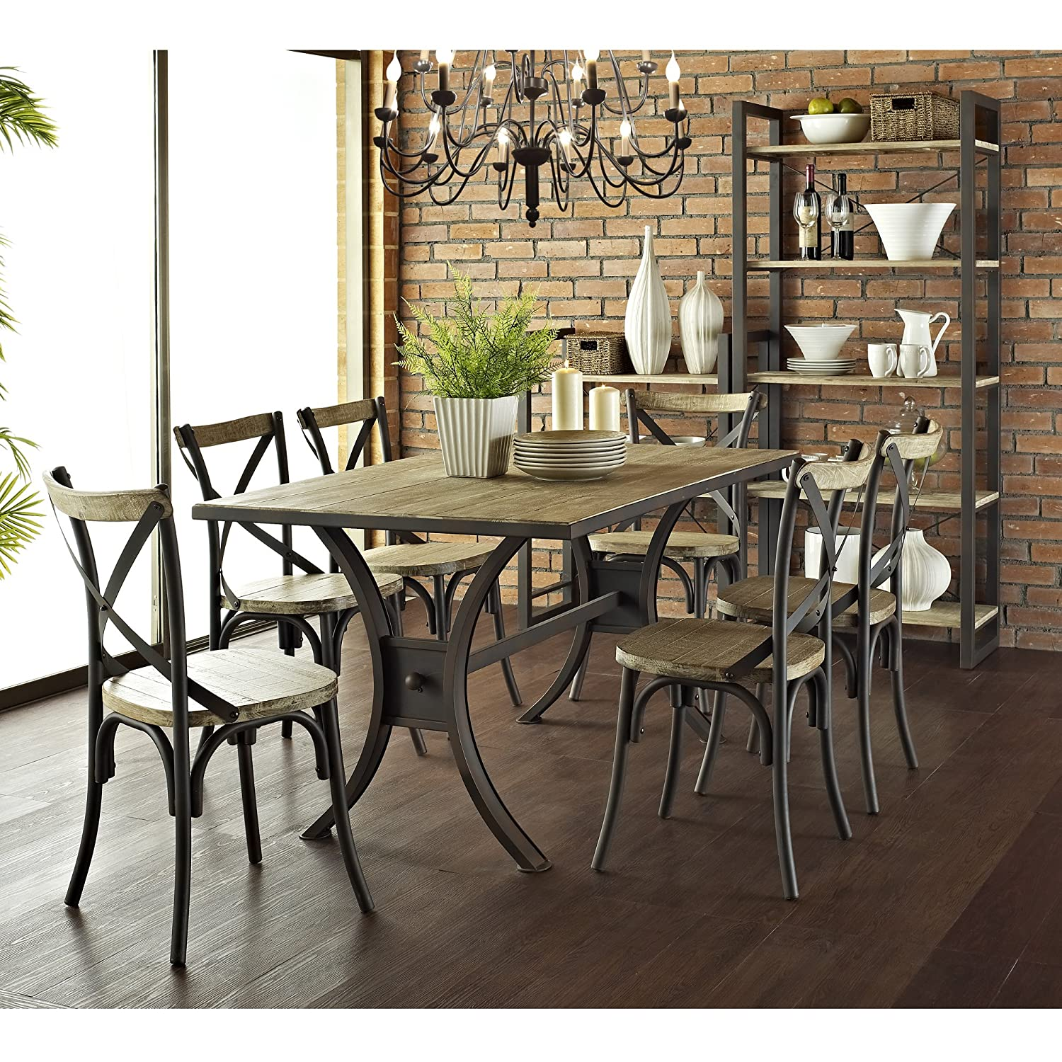 Walker Edison Industrial Reclaimed Solid Wood Dining Chairs, Set Of 2:  Amazon.ca: Home U0026 Kitchen