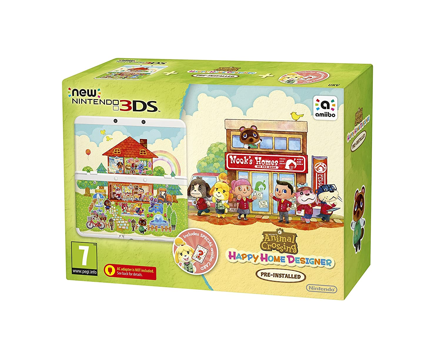 New 3DS + Animal Crossing: Happy Home Designer + Coverplate + amiibo Happy Home Designer on