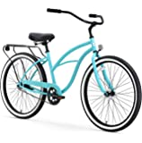 "sixthreezero Around The Block Women's Single-Speed Beach Cruiser Bicycle, 26"" Wheels, Teal Blue with Black Seat and…"