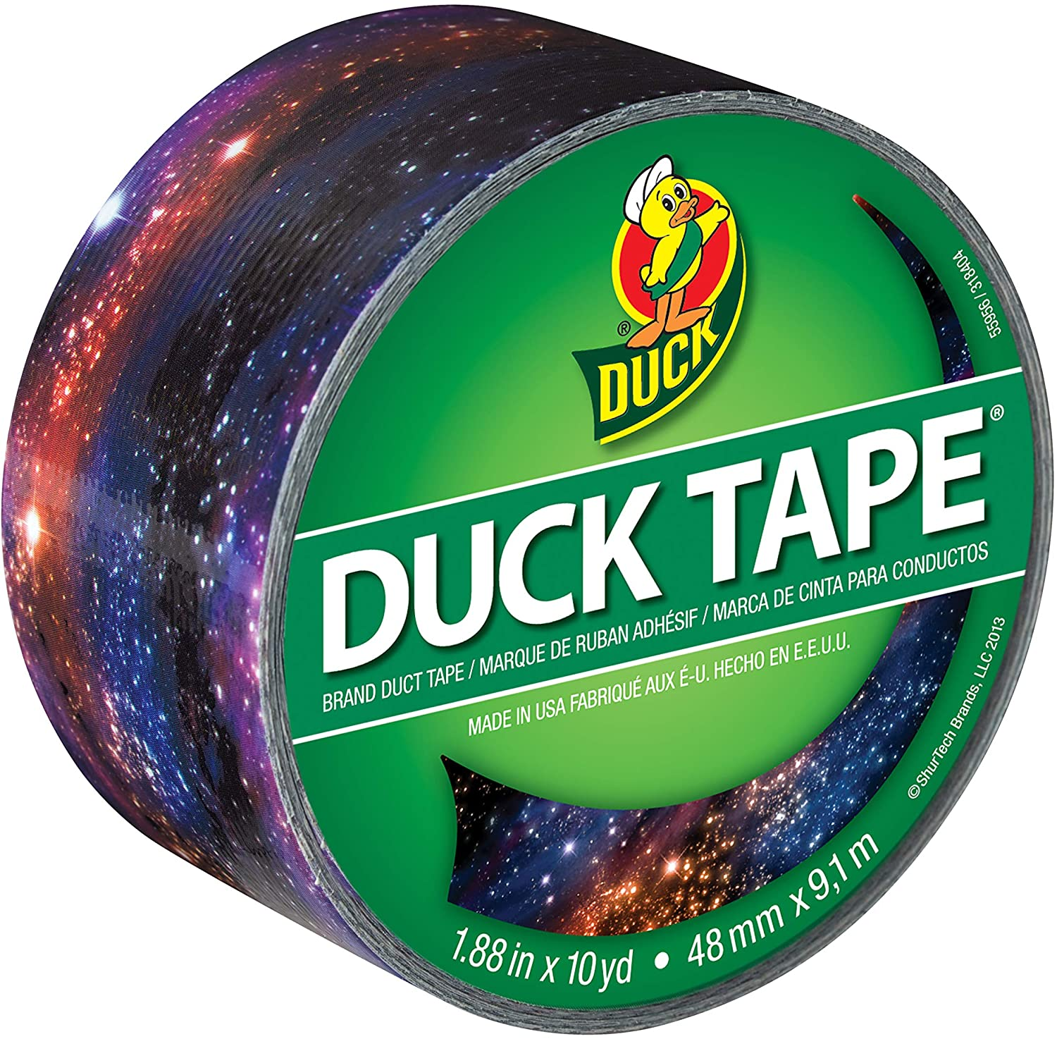 Duck, Galaxy, Brand 283039 Printed Duct Tape, 1.88 Inches x 10 Yards, Single Roll