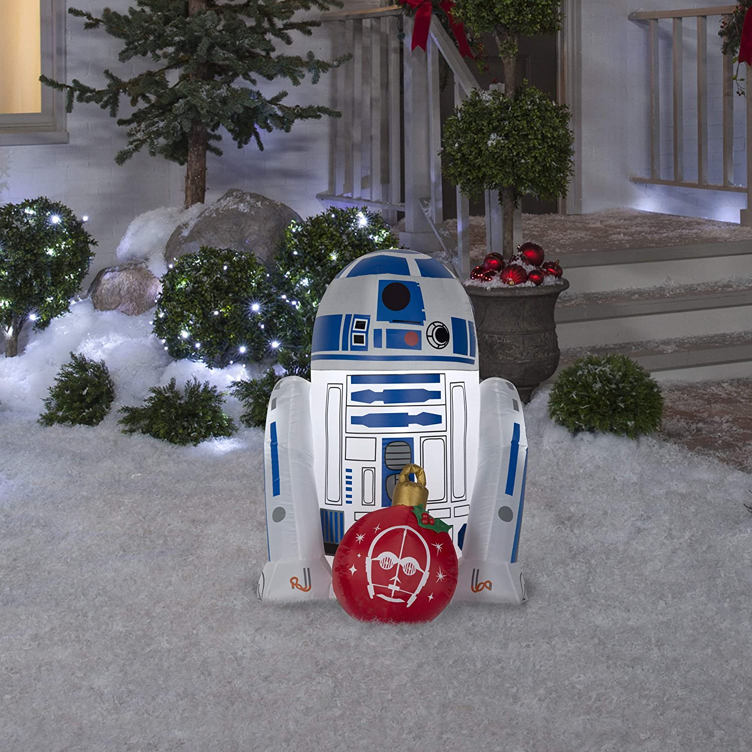 Gemmy Star Wars R2D2 3FT Christmas Inflatable Outdoor Yard Decoration -Lights Up with LED - Easy Set-Up -Self Inflating