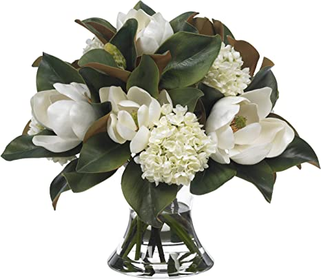 Diane James Large Faux Magnolia And Hydrangea Bouquet In Glass Vase Home Kitchen
