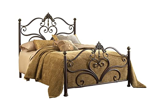 Hillsdale Furniture Newton Bed Set with Rails, King, Antique Brown Highlight
