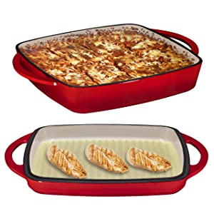 "2 in 1 Enameled Cast Iron Square Casserole Baking Pan With Griddle Lid 2 in 1 Multi Baker Dish 11"" - Fire Red"