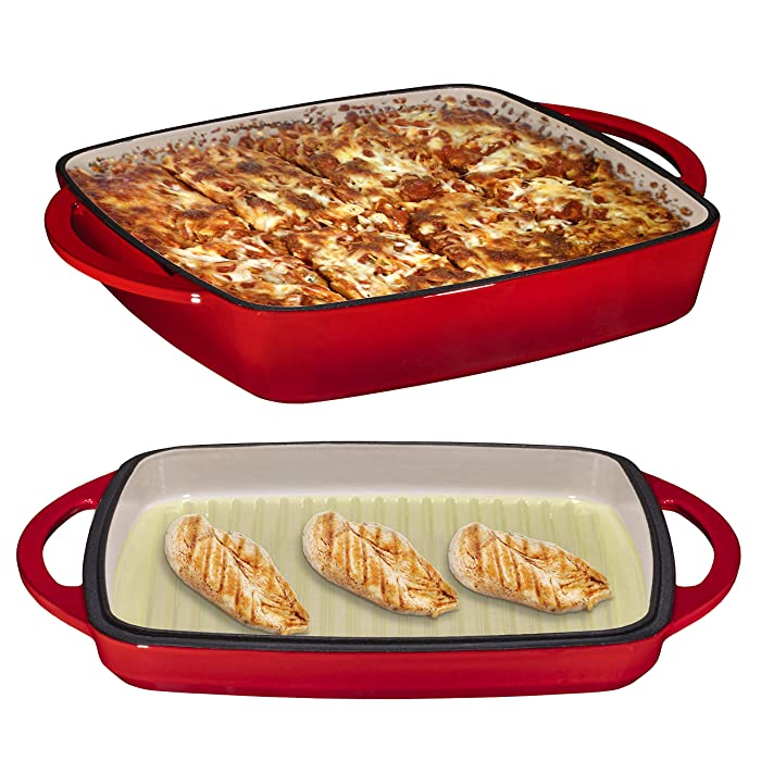 """2 in 1 Enameled Cast Iron Square Casserole Baking Pan With Griddle Lid 2 in 1 Multi Baker Dish 11"""" - Fire Red"""