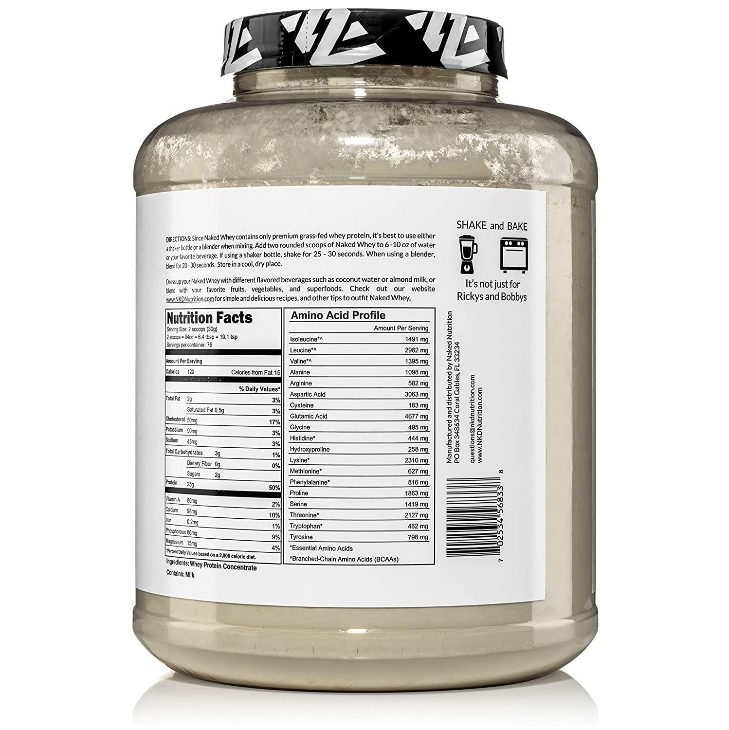 NAKED WHEY 5LB 100% Grass Fed Whey Protein Powder