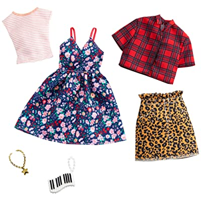 Barbie Clothes: 2 Outfits Doll Include A Floral Dress, Striped T-Shirt, Animal-Print Skirt, Plaid Top, Piano Key Purse and Necklace, Gift for 3 to 8 Year Olds​: Toys & Games